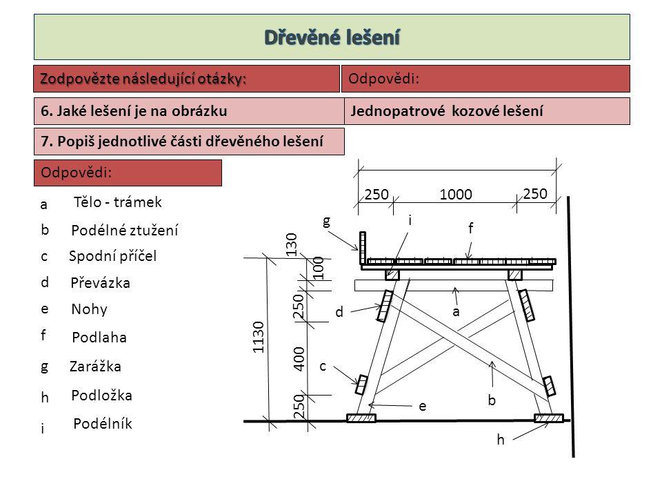 Sloupek 100/100 Příčník 100/100 Podlaha Podélník 100/100 Příčné ztužení 24/100 Roznášecí prkno 24/100 Zarážka 24/150 Zábradlí 24/100 8.