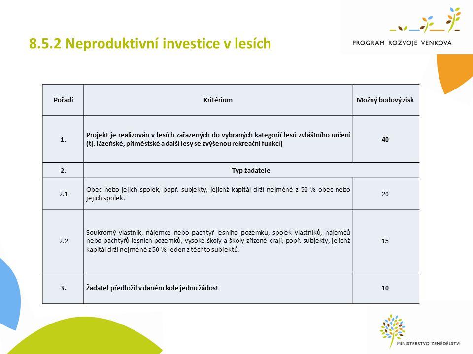 8.5.2 Neproduktivní investice v lesích PořadíKritériumMožný bodový zisk 1.