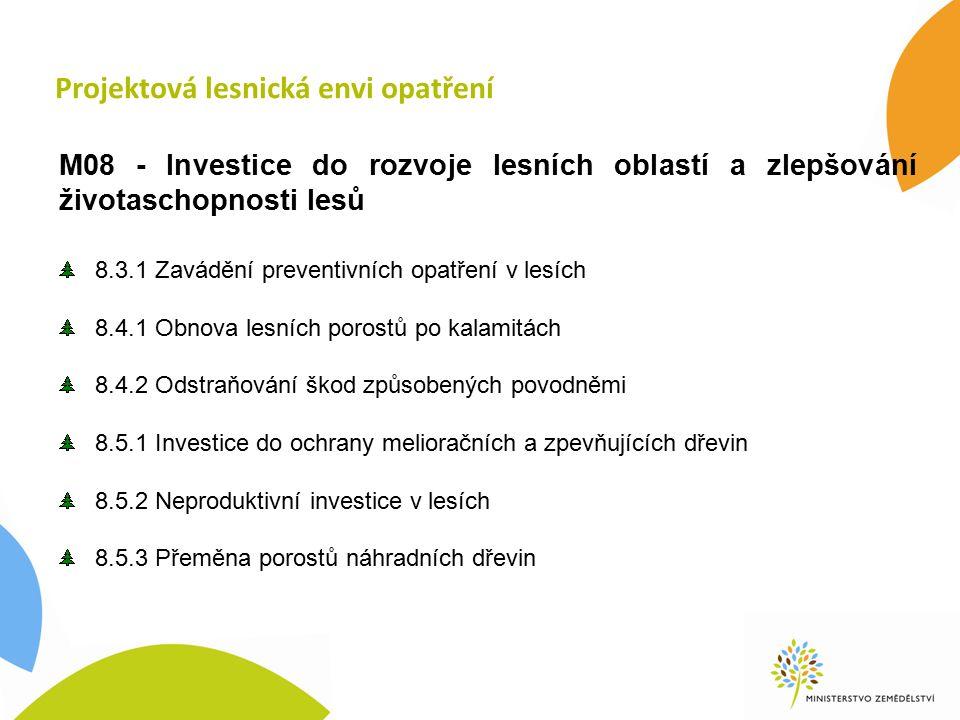 8.5.1 Investice do ochrany MZD nové opatření způsobilé výdaje: částečná úhrada nákladů na hromadnou mechanickou ochranu MZD při založení porostu příjemci: soukromí a veřejní vlastníci, nájemci a pachtýři lesa a jejich sdružení; žadatelem nemohou být státní podniky míra podpory: 50 % způsobilých výdajů výdaje na projekt: min.