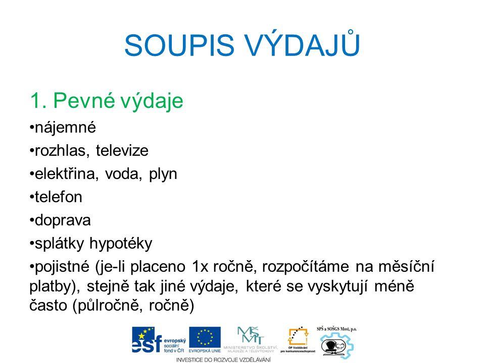 SOUPIS VÝDAJŮ 1.