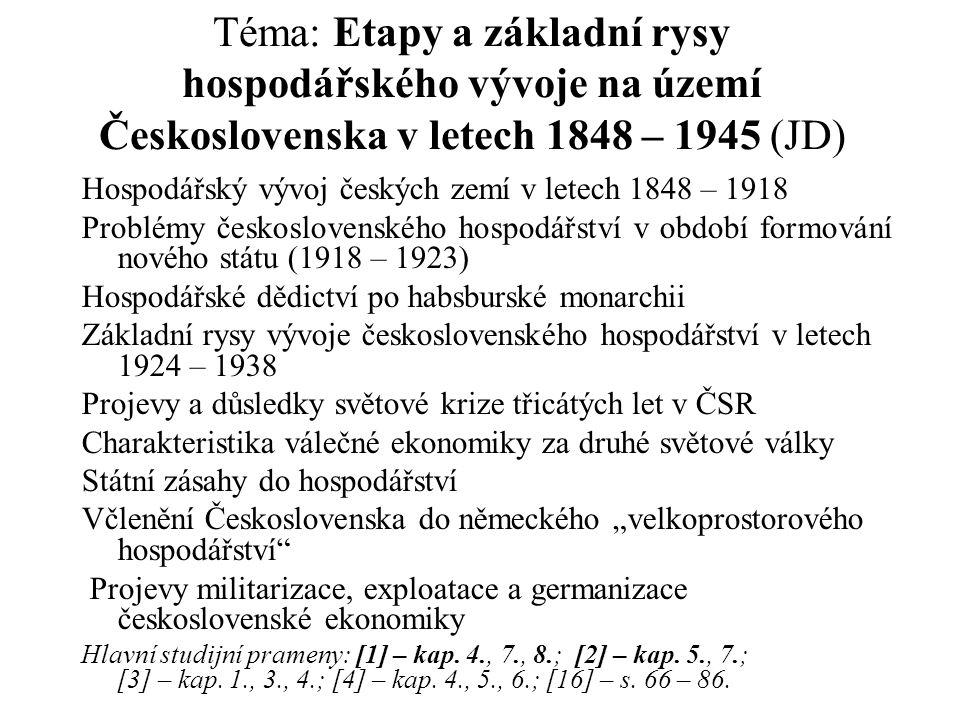 Téma: Etapy a základní rysy hospodářského vývoje na území Československa v letech 1848 – 1945 (JD) Hospodářský vývoj českých zemí v letech 1848 – 1918