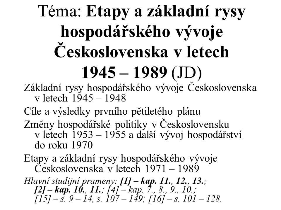 Téma: Etapy a základní rysy hospodářského vývoje Československa v letech 1945 – 1989 (JD) Základní rysy hospodářského vývoje Československa v letech 1