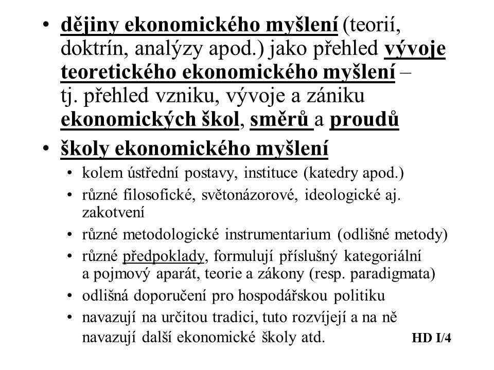 dějiny ekonomického myšlení (teorií, doktrín, analýzy apod.) jako přehled vývoje teoretického ekonomického myšlení – tj. přehled vzniku, vývoje a záni