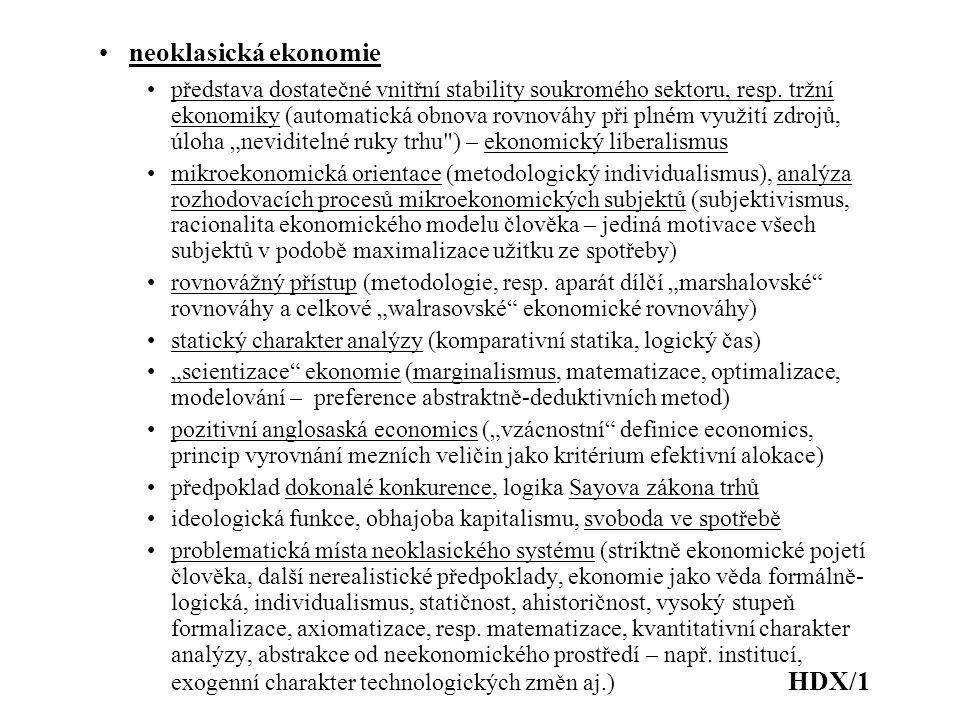 neoklasická ekonomie představa dostatečné vnitřní stability soukromého sektoru, resp. tržní ekonomiky (automatická obnova rovnováhy při plném využití