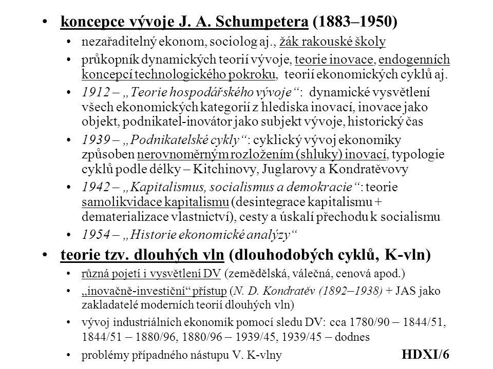 koncepce vývoje J. A. Schumpetera (1883–1950) nezařaditelný ekonom, sociolog aj., žák rakouské školy průkopník dynamických teorií vývoje, teorie inova
