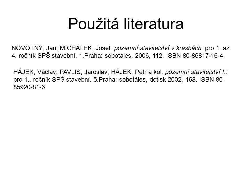Použitá literatura NOVOTNÝ, Jan; MICHÁLEK, Josef. pozemní stavitelství v kresbách: pro 1. až 4. ročník SPŠ stavební. 1.Praha: sobotáles, 2006, 112. IS