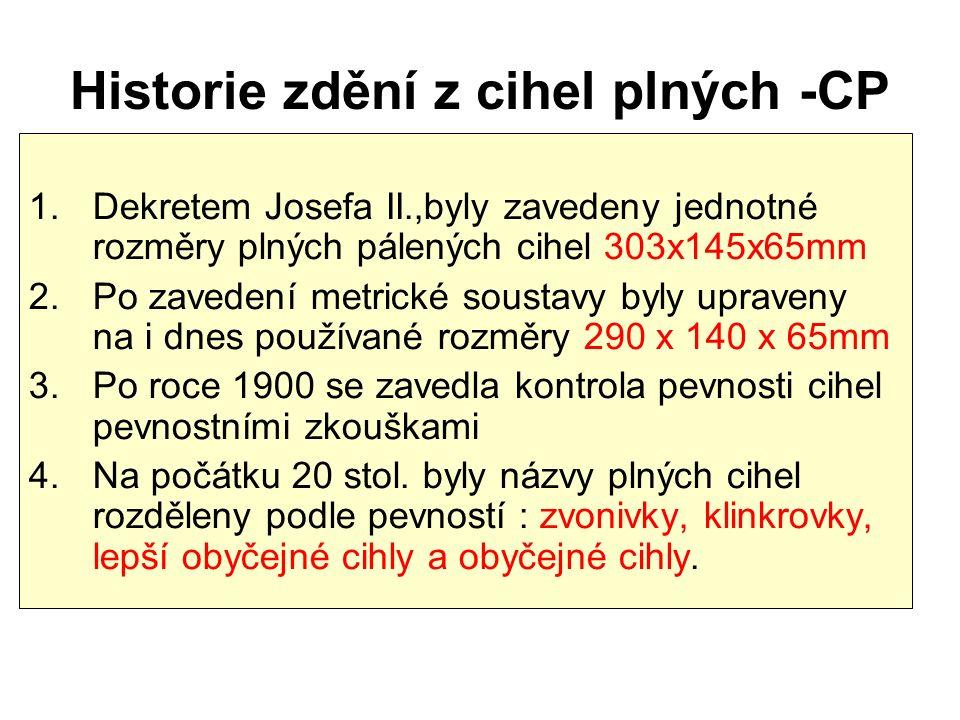 Historie zdění z cihel plných -CP 1.Dekretem Josefa II.,byly zavedeny jednotné rozměry plných pálených cihel 303x145x65mm 2.Po zavedení metrické soust
