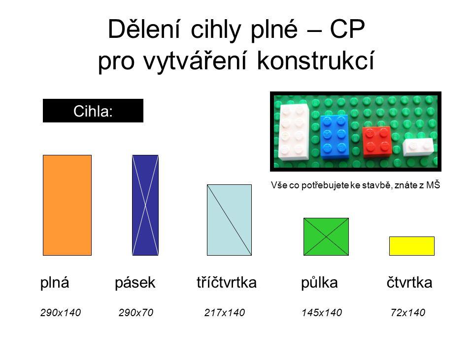 Dělení cihly plné – CP pro vytváření konstrukcí Cihla: plnápásektříčtvrtkapůlkačtvrtka 217x140145x14072x140290x140290x70 Vše co potřebujete ke stavbě, znáte z MŠ
