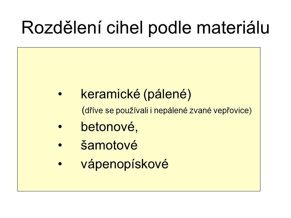 Rozdělení cihel podle materiálu keramické (pálené) ( dříve se používali i nepálené zvané vepřovice) betonové, šamotové vápenopískové