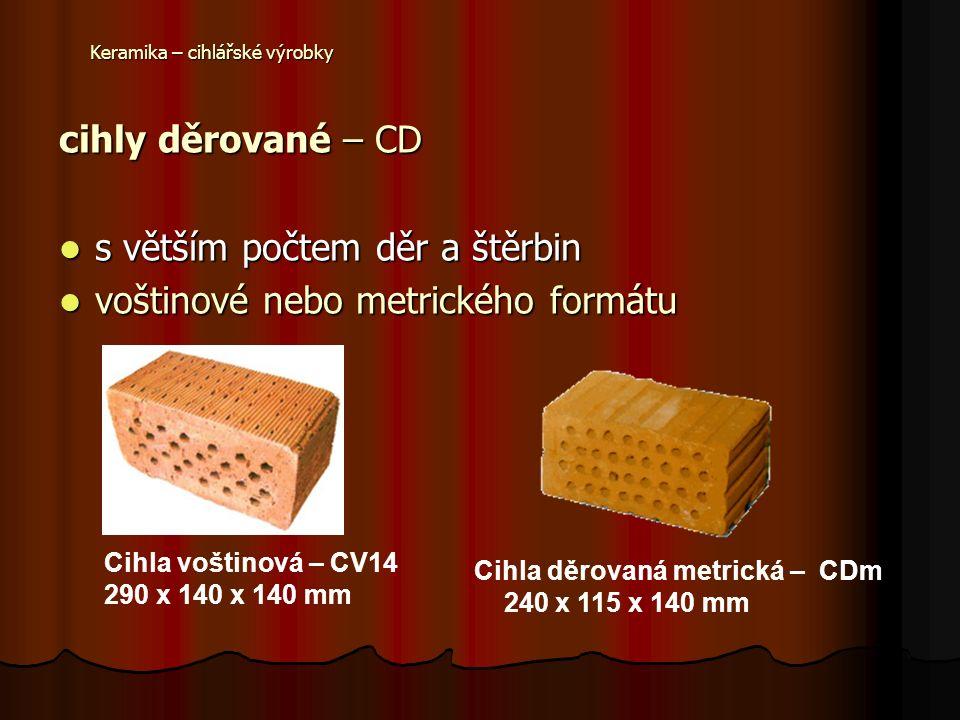 Keramika – cihlářské výrobky lehčené cihly mají sníženou objemovou hmotnost lehčením (dutinami, dírami či štěrbinami, ale hlavně použitím lehčiv ve výrobní směsi), čímž vznikne střepově lehčený výrobek (např.