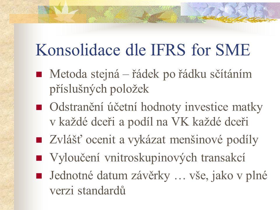 Konsolidace dle IFRS for SME Metoda stejná – řádek po řádku sčítáním příslušných položek Odstranění účetní hodnoty investice matky v každé dceři a podíl na VK každé dceři Zvlášť ocenit a vykázat menšinové podíly Vyloučení vnitroskupinových transakcí Jednotné datum závěrky … vše, jako v plné verzi standardů