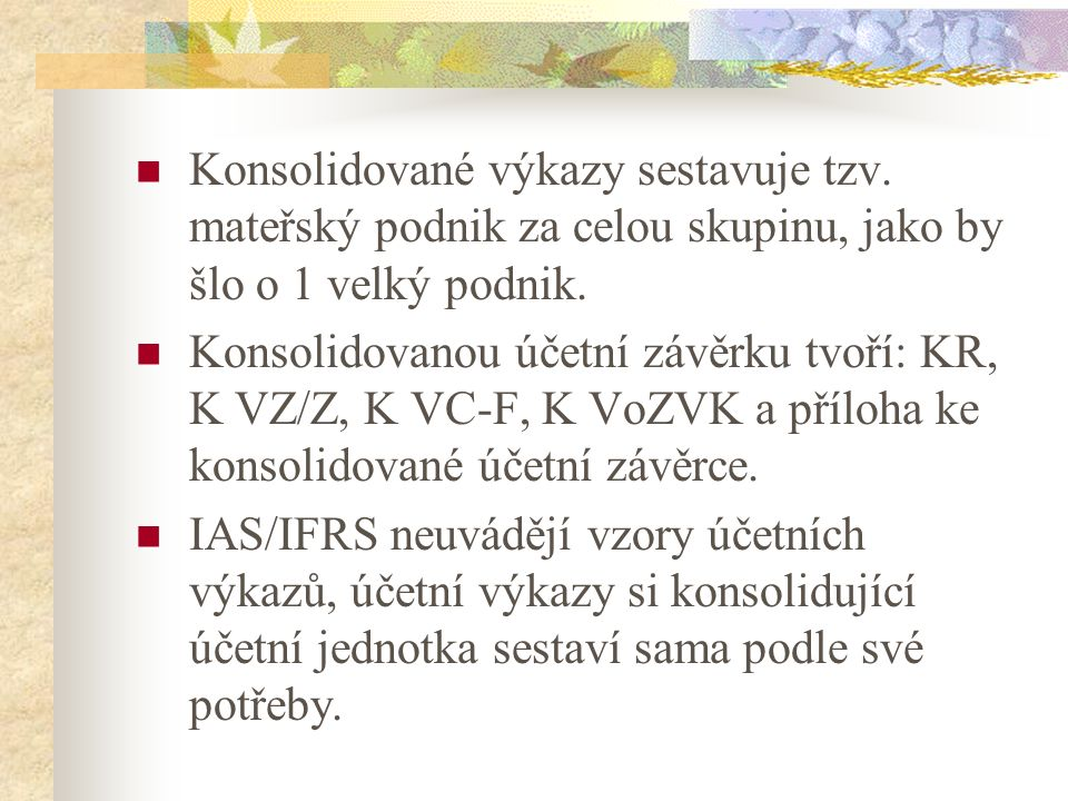 Konsolidace dle IFRS for SME Oddíl č.