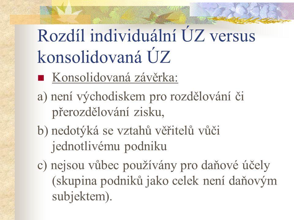Rozdíl individuální ÚZ versus konsolidovaná ÚZ Konsolidovaná závěrka: a) není východiskem pro rozdělování či přerozdělování zisku, b) nedotýká se vzta