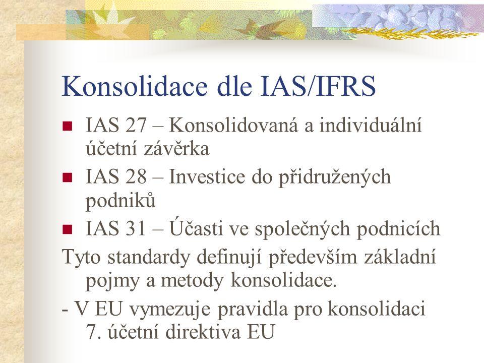 Konsolidace dle IAS/IFRS IAS 27 – Konsolidovaná a individuální účetní závěrka IAS 28 – Investice do přidružených podniků IAS 31 – Účasti ve společných