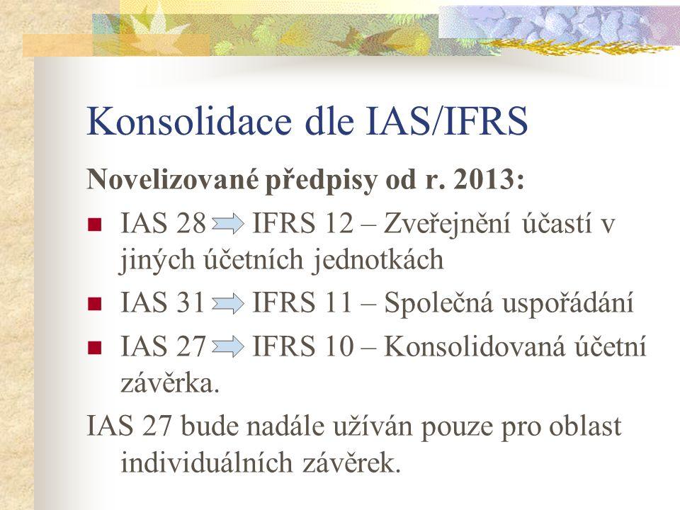 Konsolidace dle IAS/IFRS Novelizované předpisy od r. 2013: IAS 28 IFRS 12 – Zveřejnění účastí v jiných účetních jednotkách IAS 31 IFRS 11 – Společná u