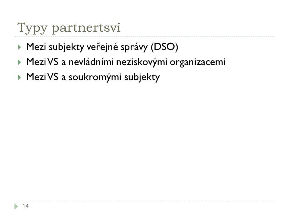 Typy partnertsví  Mezi subjekty veřejné správy (DSO)  Mezi VS a nevládními neziskovými organizacemi  Mezi VS a soukromými subjekty 14