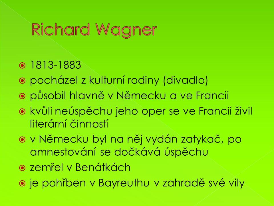  1813-1883  pocházel z kulturní rodiny (divadlo)  působil hlavně v Německu a ve Francii  kvůli neúspěchu jeho oper se ve Francii živil literární činností  v Německu byl na něj vydán zatykač, po amnestování se dočkává úspěchu  zemřel v Benátkách  je pohřben v Bayreuthu v zahradě své vily