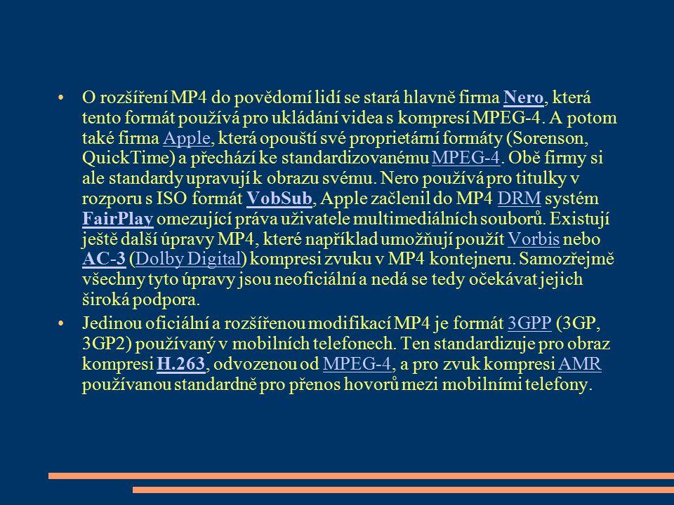 O rozšíření MP4 do povědomí lidí se stará hlavně firma Nero, která tento formát používá pro ukládání videa s kompresí MPEG-4. A potom také firma Apple