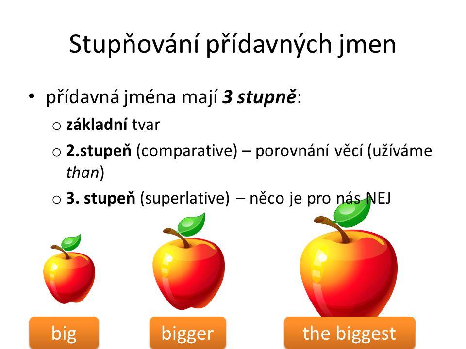 Stupňování přídavných jmen přídavná jména mají 3 stupně: o základní tvar o 2.stupeň (comparative) – porovnání věcí (užíváme than) o 3.