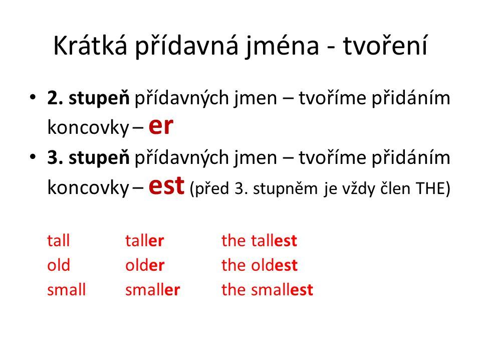 Krátká přídavná jména - tvoření 2. stupeň přídavných jmen – tvoříme přidáním koncovky – er 3. stupeň přídavných jmen – tvoříme přidáním koncovky – est