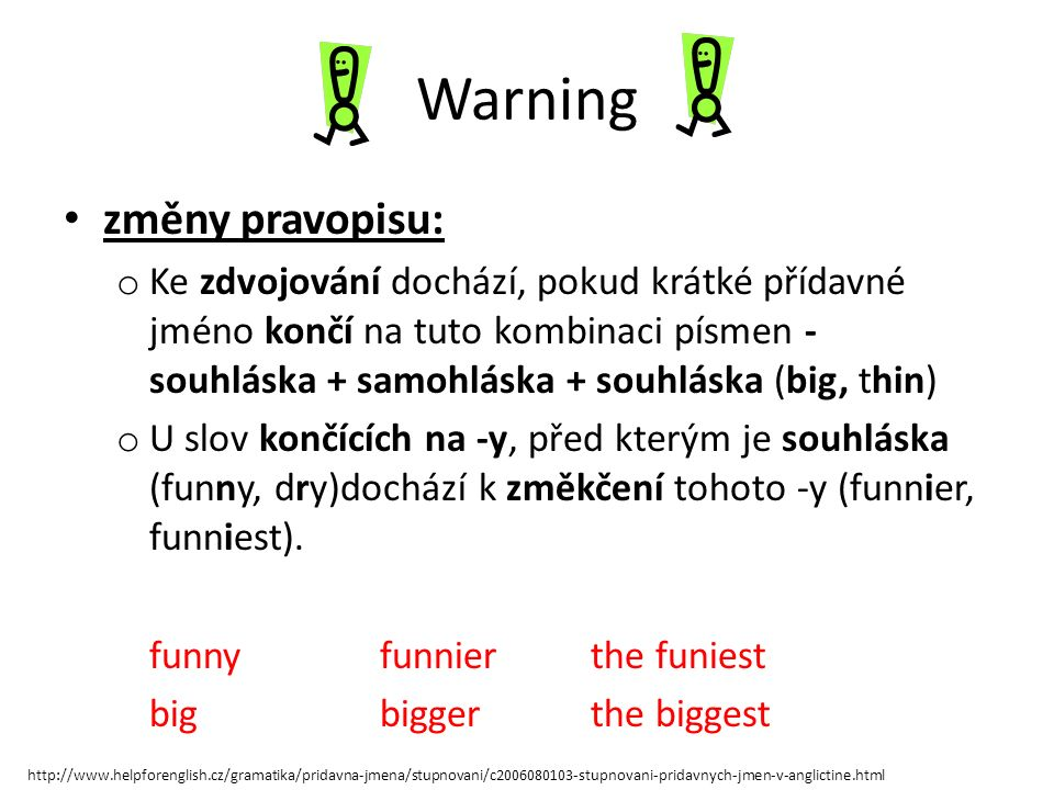 Warning změny pravopisu: o Ke zdvojování dochází, pokud krátké přídavné jméno končí na tuto kombinaci písmen - souhláska + samohláska + souhláska (big, thin) o U slov končících na -y, před kterým je souhláska (funny, dry)dochází k změkčení tohoto -y (funnier, funniest).
