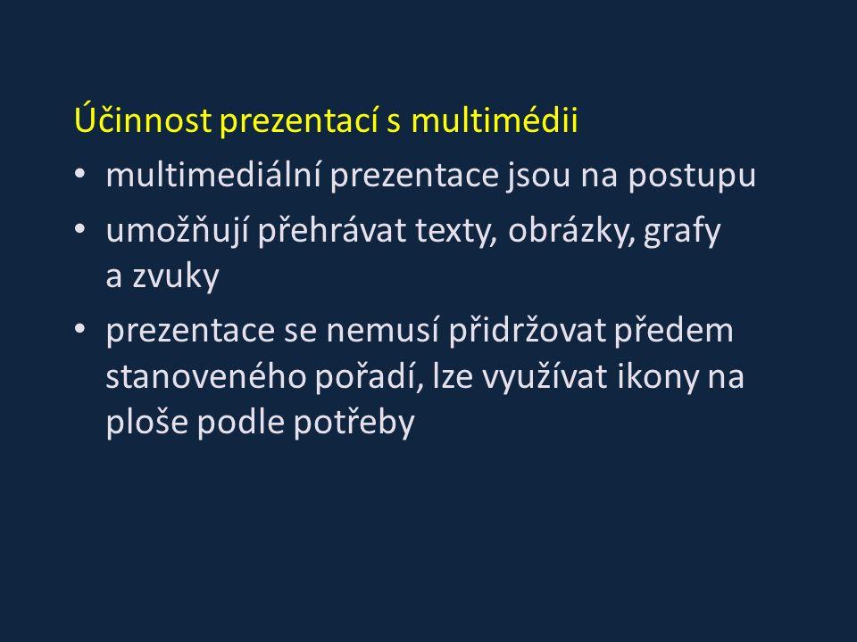 Účinnost prezentací s multimédii multimediální prezentace jsou na postupu umožňují přehrávat texty, obrázky, grafy a zvuky prezentace se nemusí přidrž