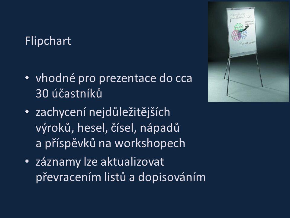 Flipchart vhodné pro prezentace do cca 30 účastníků zachycení nejdůležitějších výroků, hesel, čísel, nápadů a příspěvků na workshopech záznamy lze akt
