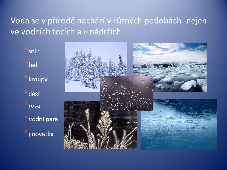 Voda se v přírodě nachází v různých podobách -nejen ve vodních tocích a v nádržích. * déšť * sníh * led * kroupy * vodní pára * jinovatka * rosa