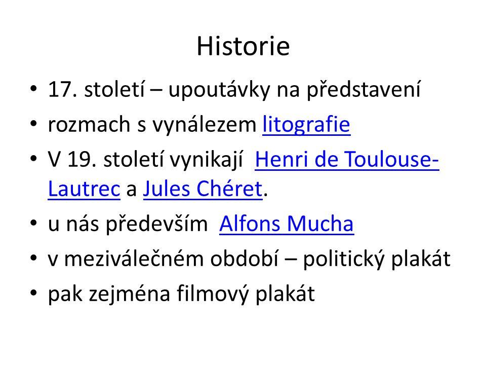 Historie 17. století – upoutávky na představení rozmach s vynálezem litografielitografie V 19.