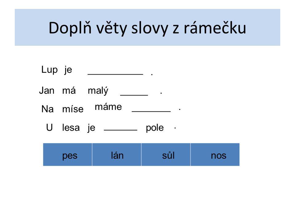 Doplň věty slovy z rámečku Lupje__________. Janmámalý_____. Namíse máme_______. Ulesaje ______ pole. peslánsůlnos