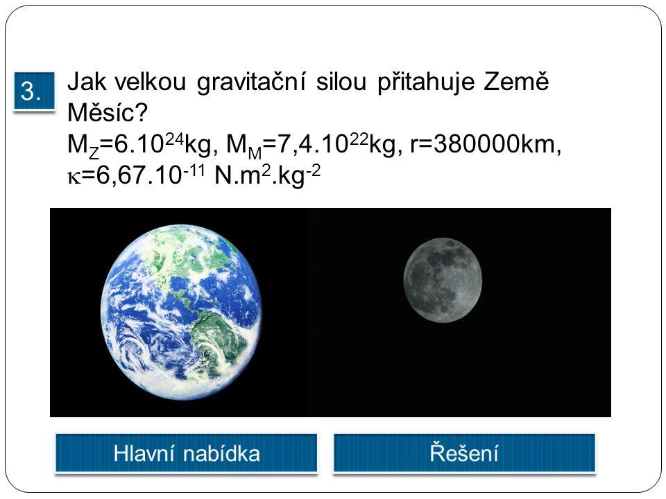 Jak velkou gravitační silou přitahuje Země Měsíc? M Z =6.10 24 kg, M M =7,4.10 22 kg, r=380000km,  =6,67.10 -11 N.m 2.kg -2