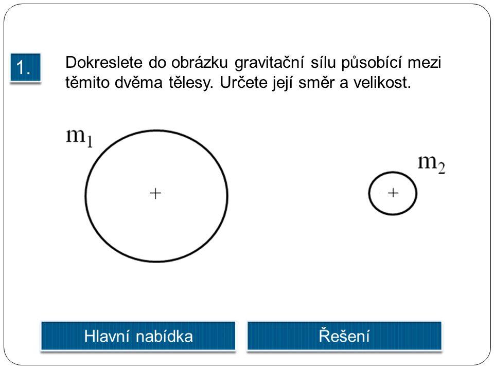 Dokreslete do obrázku gravitační sílu působící mezi těmito dvěma tělesy. Určete její směr a velikost.