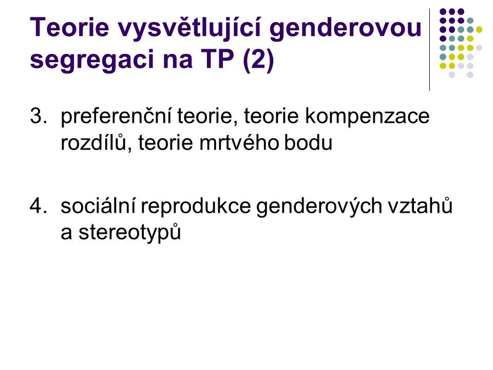 Teorie vysvětlující genderovou segregaci na TP (2) 3.preferenční teorie, teorie kompenzace rozdílů, teorie mrtvého bodu 4.sociální reprodukce genderových vztahů a stereotypů
