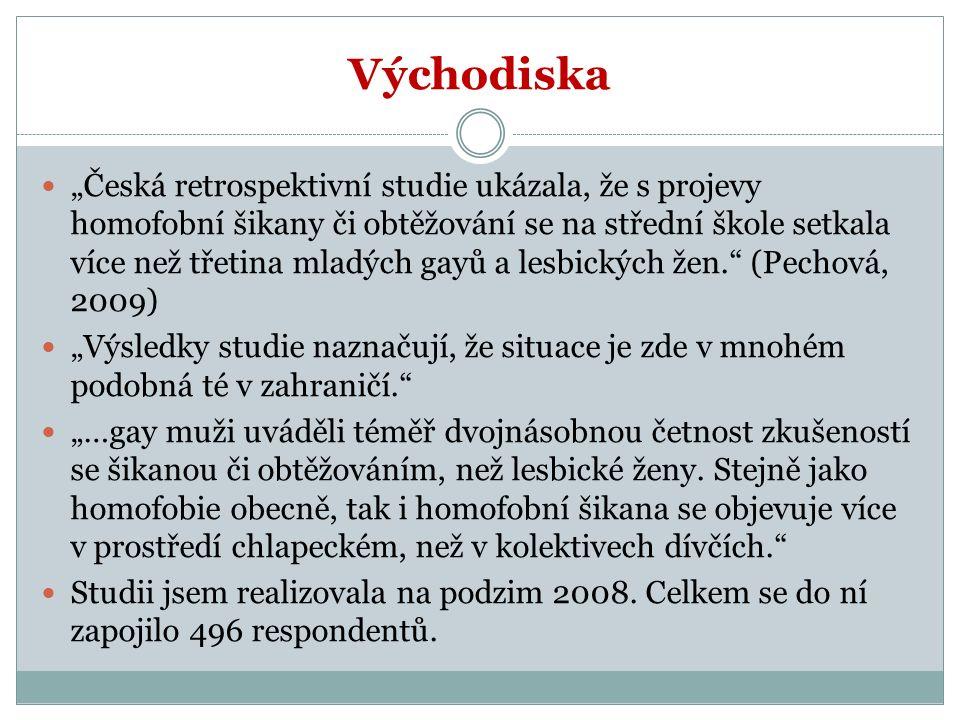 """Východiska """"Česká retrospektivní studie ukázala, že s projevy homofobní šikany či obtěžování se na střední škole setkala více než třetina mladých gayů a lesbických žen. (Pechová, 2009) """"Výsledky studie naznačují, že situace je zde v mnohém podobná té v zahraničí. """"…gay muži uváděli téměř dvojnásobnou četnost zkušeností se šikanou či obtěžováním, než lesbické ženy."""