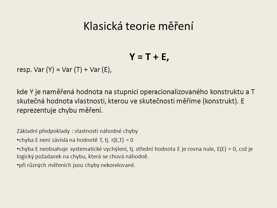 Klasická teorie měření Y = T + E, resp.