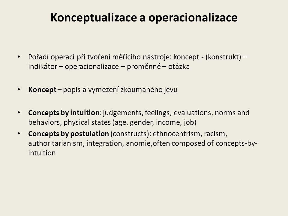 Konceptualizace a operacionalizace Pořadí operací při tvoření měřícího nástroje: koncept - (konstrukt) – indikátor – operacionalizace – proměnné – otá