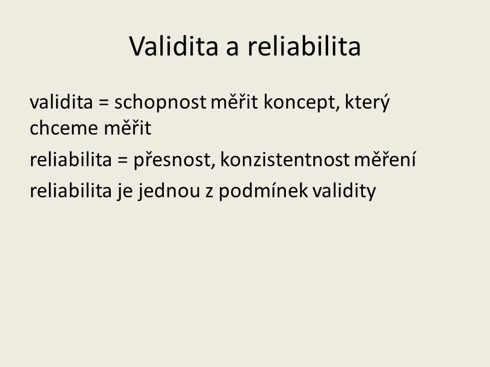 Validita a reliabilita validita = schopnost měřit koncept, který chceme měřit reliabilita = přesnost, konzistentnost měření reliabilita je jednou z podmínek validity