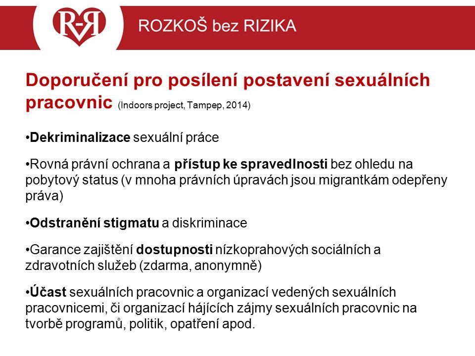 Doporučení pro posílení postavení sexuálních pracovnic (Indoors project, Tampep, 2014) Dekriminalizace sexuální práce Rovná právní ochrana a přístup ke spravedlnosti bez ohledu na pobytový status (v mnoha právních úpravách jsou migrantkám odepřeny práva) Odstranění stigmatu a diskriminace Garance zajištění dostupnosti nízkoprahových sociálních a zdravotních služeb (zdarma, anonymně) Účast sexuálních pracovnic a organizací vedených sexuálních pracovnicemi, či organizací hájících zájmy sexuálních pracovnic na tvorbě programů, politik, opatření apod.