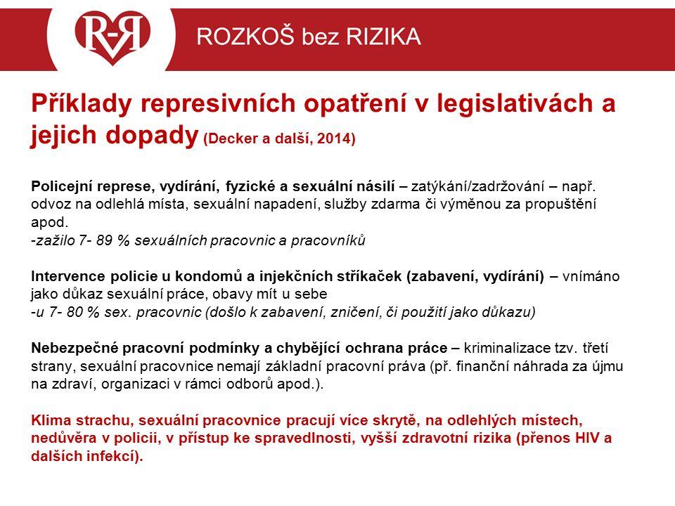 """Příklady represivních opatření v legislativách a jejich dopady (ČR) Trestný čin """"kuplířství - zajišťování pracovních podmínek je trestné: nemožnost uzavřít smlouvu, která by chránila zájmy obou stran (vyplacení odměny...), nemožnost domáhat se hygienických a dalších standardů, riziko okamžité ztráty výdělku v případě uzavření podniku po razii či zabavení finančních prostředků při raziích, riziko ztráty prostoru pro práci – výslechy svědkyň, riziko vydírání – konkurenční boje."""