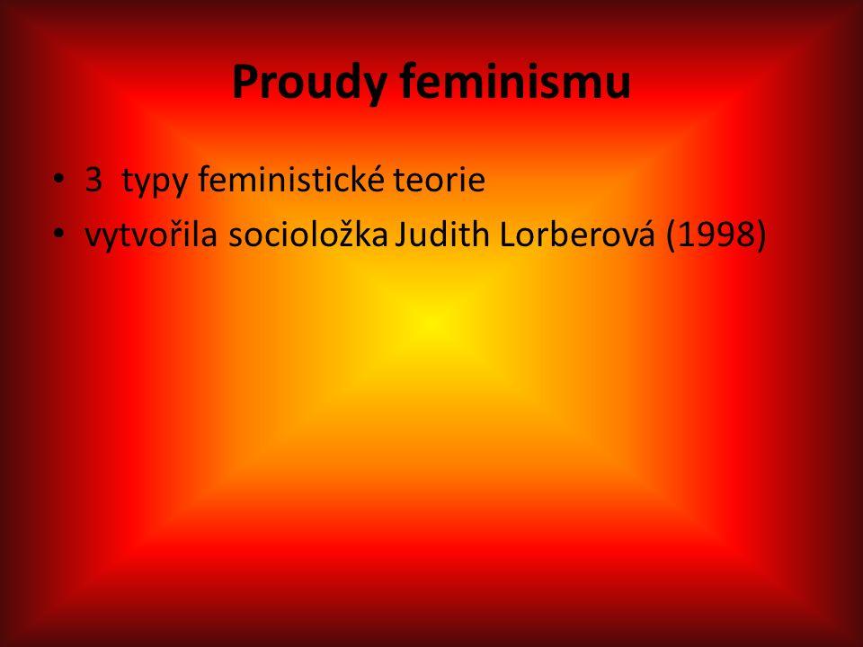 Proudy feminismu 3 typy feministické teorie vytvořila socioložka Judith Lorberová (1998)