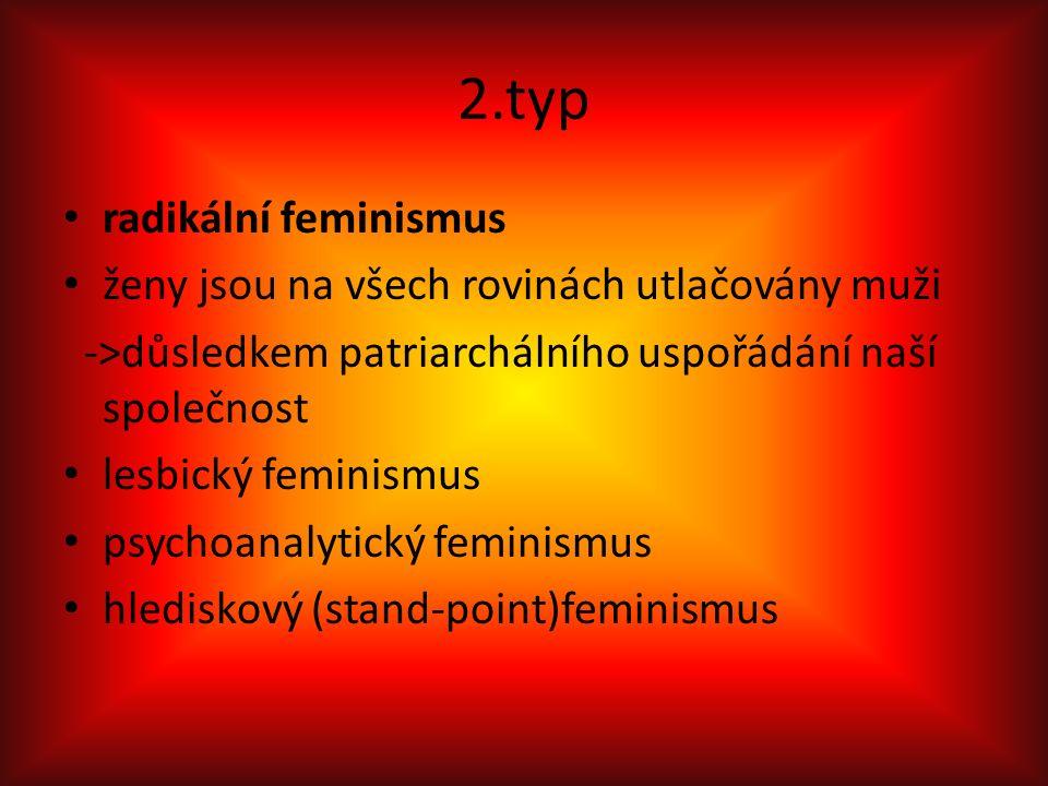 2.typ radikální feminismus ženy jsou na všech rovinách utlačovány muži ->důsledkem patriarchálního uspořádání naší společnost lesbický feminismus psychoanalytický feminismus hlediskový (stand-point)feminismus