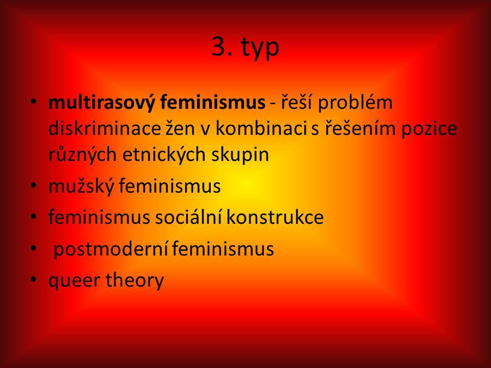 3. typ multirasový feminismus - řeší problém diskriminace žen v kombinaci s řešením pozice různých etnických skupin mužský feminismus feminismus sociá