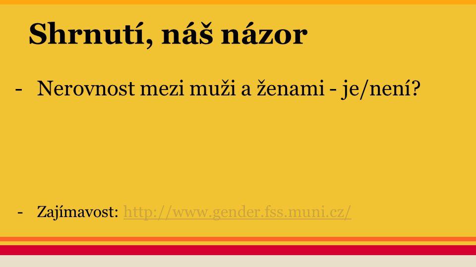 Shrnutí, náš názor -Nerovnost mezi muži a ženami - je/není? -Zajímavost: http://www.gender.fss.muni.cz/http://www.gender.fss.muni.cz/