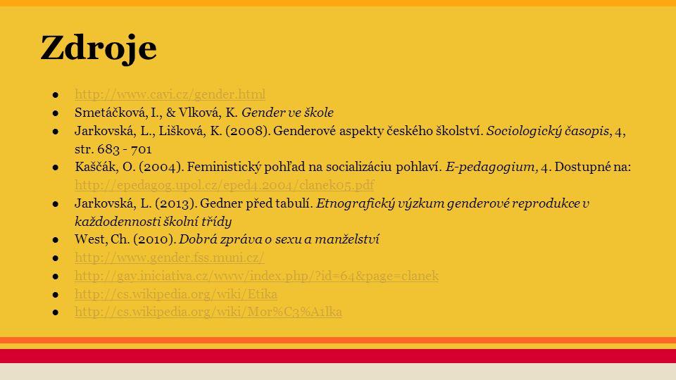 Zdroje ●http://www.cavi.cz/gender.htmlhttp://www.cavi.cz/gender.html ●Smetáčková, I., & Vlková, K. Gender ve škole ●Jarkovská, L., Lišková, K. (2008).