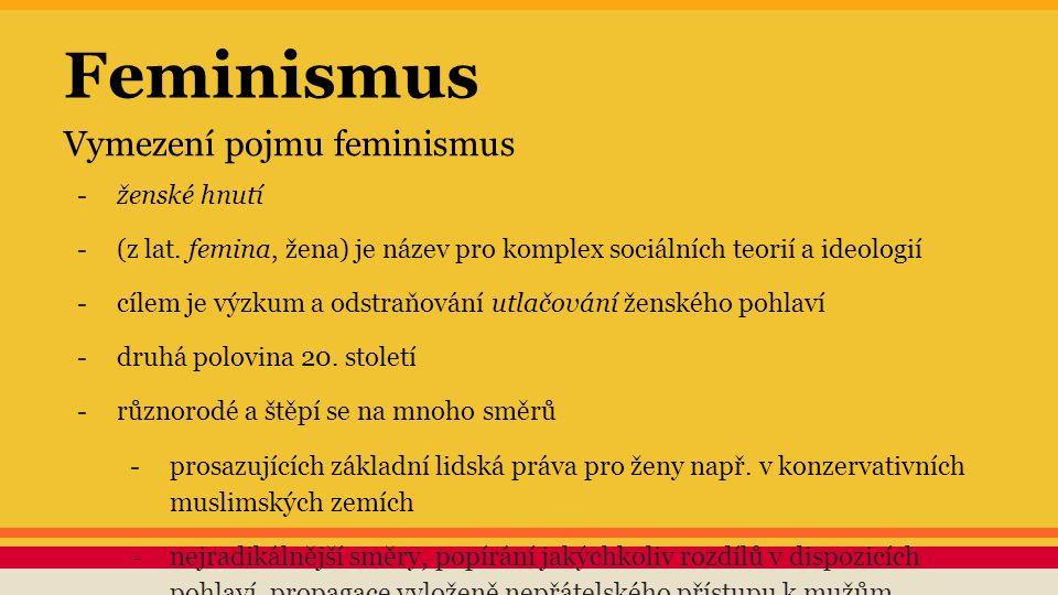 Feminismus Vymezení pojmu feminismus -ženské hnutí -(z lat. femina, žena) je název pro komplex sociálních teorií a ideologií -cílem je výzkum a odstra