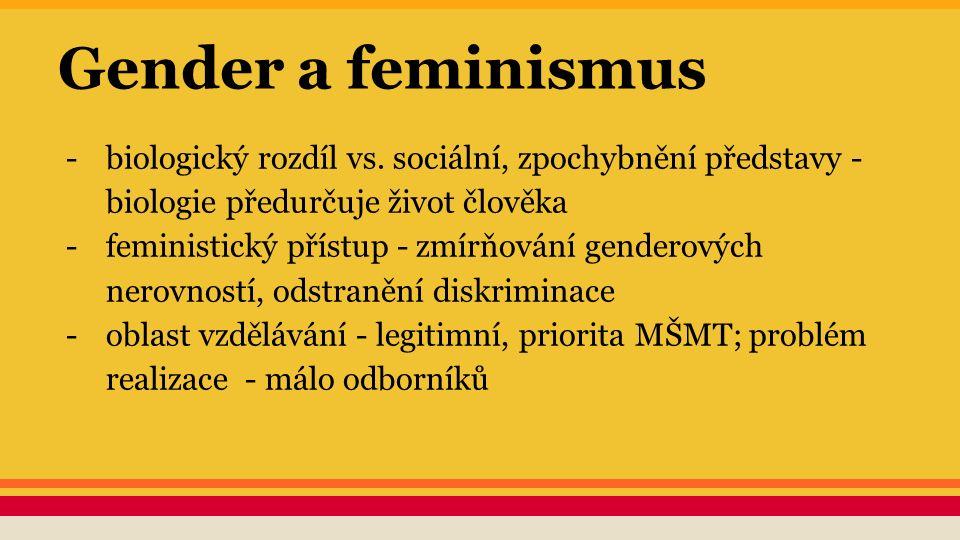 Gender a feminismus -biologický rozdíl vs. sociální, zpochybnění představy - biologie předurčuje život člověka -feministický přístup - zmírňování gend