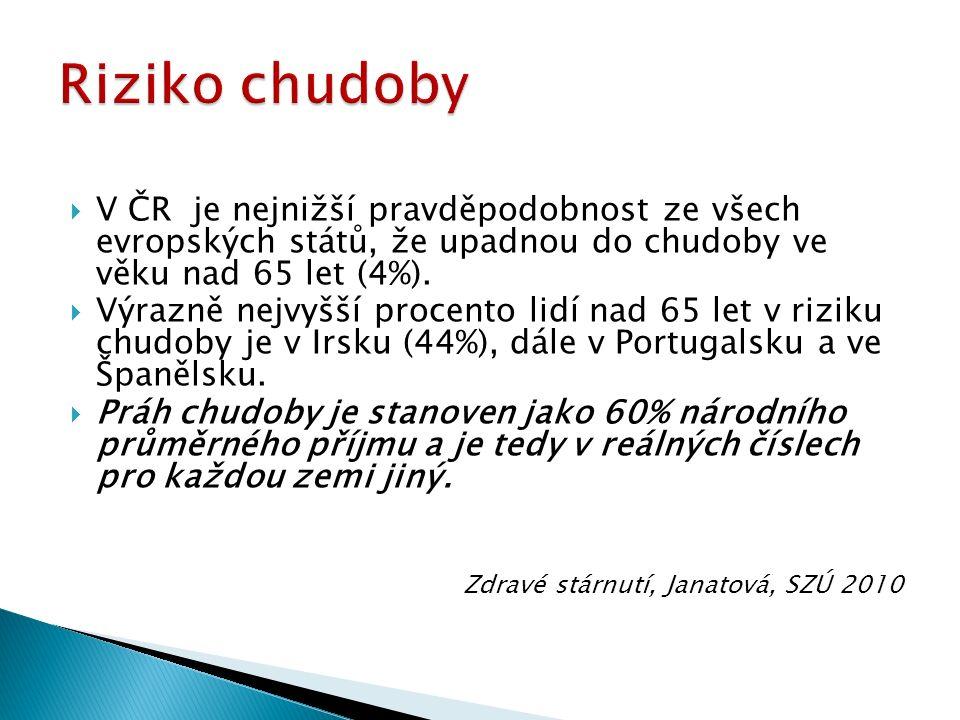  V ČR je nejnižší pravděpodobnost ze všech evropských států, že upadnou do chudoby ve věku nad 65 let (4%).
