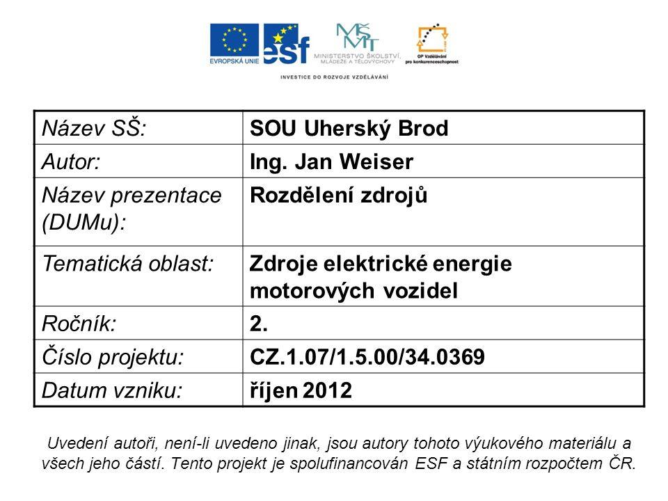 Název SŠ:SOU Uherský Brod Autor:Ing. Jan Weiser Název prezentace (DUMu): Rozdělení zdrojů Tematická oblast:Zdroje elektrické energie motorových vozide