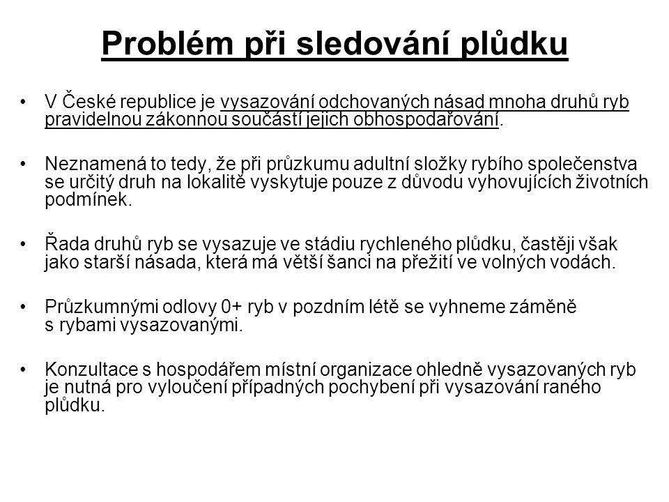 Problém při sledování plůdku V České republice je vysazování odchovaných násad mnoha druhů ryb pravidelnou zákonnou součástí jejich obhospodařování.