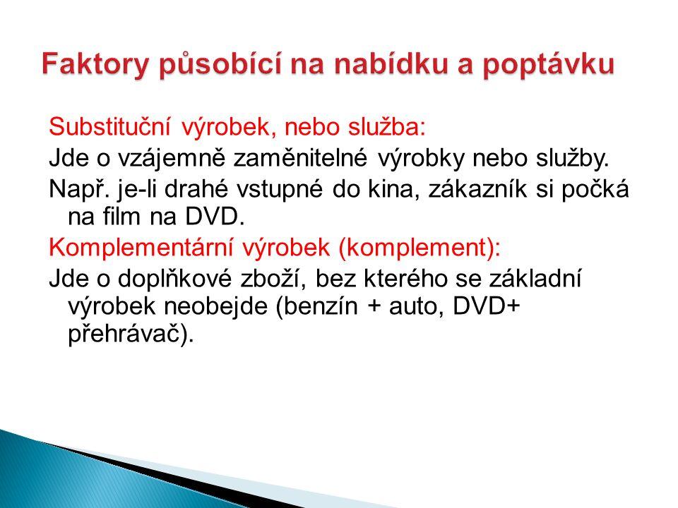 Substituční výrobek, nebo služba: Jde o vzájemně zaměnitelné výrobky nebo služby. Např. je-li drahé vstupné do kina, zákazník si počká na film na DVD.